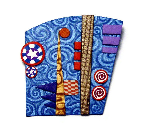 Mica Shift Polymer Clay Pin Handmade Brooch Abstract Canework Blue Collage Art Jewelry