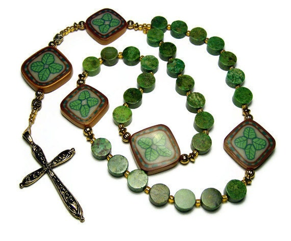 Anglican Protestant Prayer Beads Polymer Clay Unisex Rosary Handmade Canework Green Turquoise Everything Else Religious