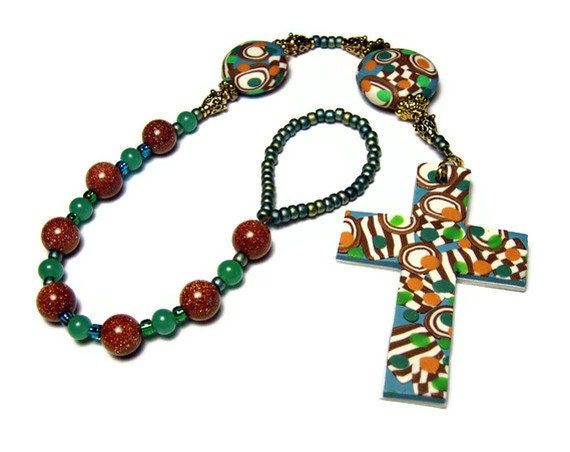 Anglican Protestant Prayer Beads Chaplet Polymer Clay Unisex Rosary Handmade Religious Everything Else Goldstone