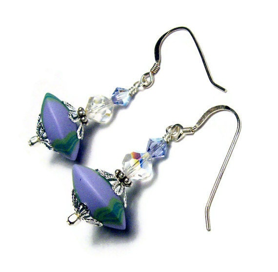 Lavender Dangle Earrings Handmade Polymer Clay Beads Pierced Art Jewelry Spring Vintage Crystal Swarovski Crystal Provence Lavender