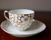 Vintage Gold Flower China Teacup and Saucer