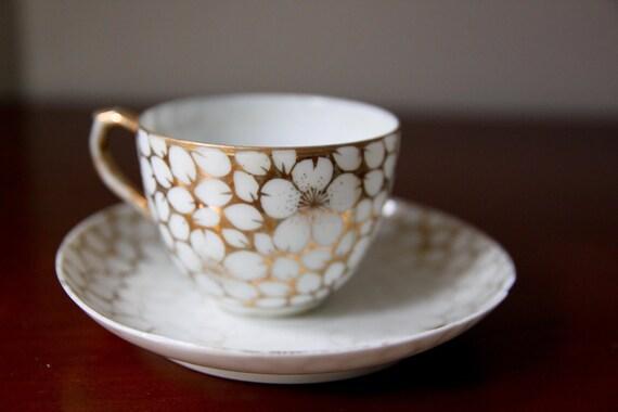 Vintage Gold Flower China Teacup and Saucer