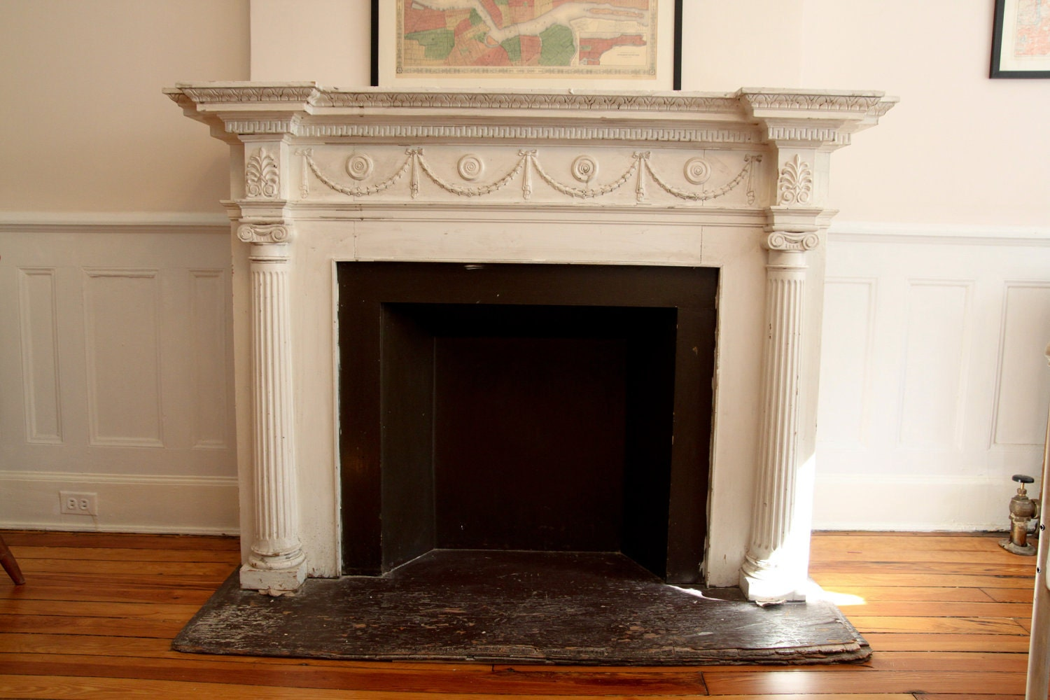Vintage Faux Fireplace and Mantle f White
