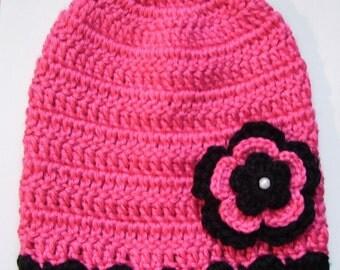 Baby Girl Crocheted Hat,Beanie, Photo Prop 10018