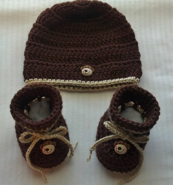 Baby Boy Crochet Hat Beanie Monkey Button Brown Baby Boy Crochet Booties Baby Shower Gift Photo Prop 10008 MADE TO ORDER