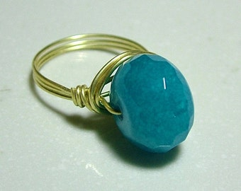 Wire Wrapped Ring - Blue