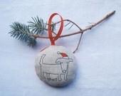 Dog Christmas Ornament - Linen