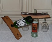 Wine Bottle Butler / Balancer and Glasss Holder made from Reclaimed / Upcycled / Recycled Oak Wine Barrel Stave