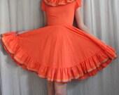 1970s Vintage Square Dancing Dress in Tangerine Orange Ruffles