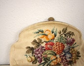 Vintage Embroidered Purse // 1950s Needlepoint Mid Century Handbag