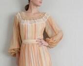 Vintage 1970s Dress in Boho Striped Orange and Beige Print
