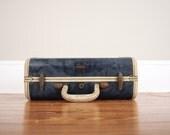 1960s Mini Samsomite Suitcase // Vintage Mid Century Blue Luggage Camera Bag