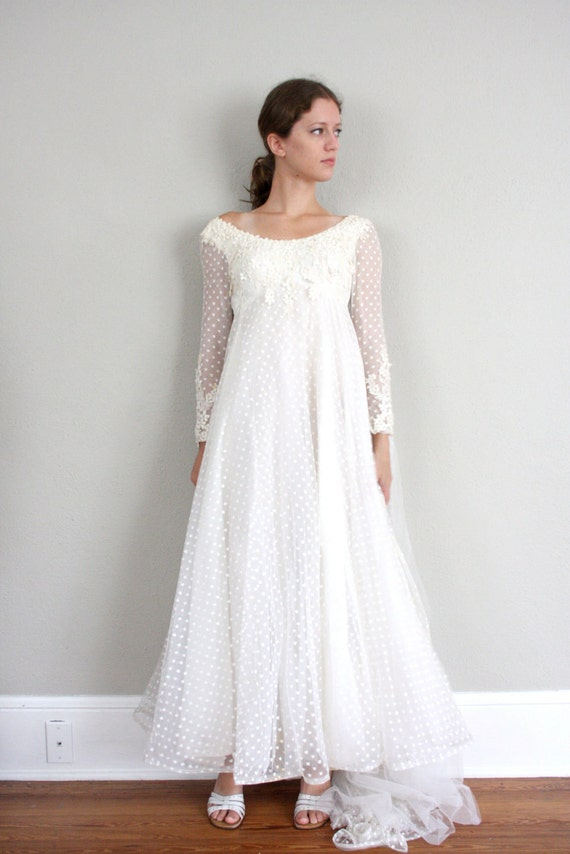 Vintage 1950s Wedding Dress In White Polka Dot Sheer Lace And