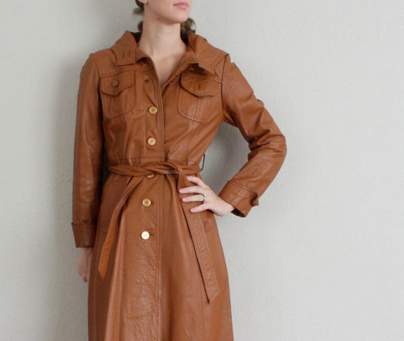Black Friday Sale // Leather Trench Coat // 1970s Brown Trench // Vintage Winter Jacket
