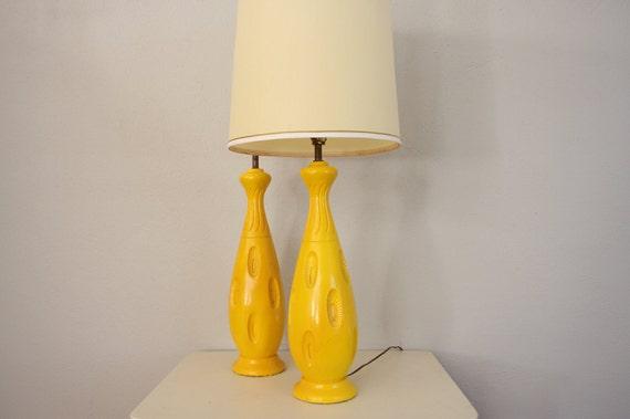 Mod Lamp Set // 1960s Yellow Retro Lamps // Vintage Mid Century Eames Era Lighting