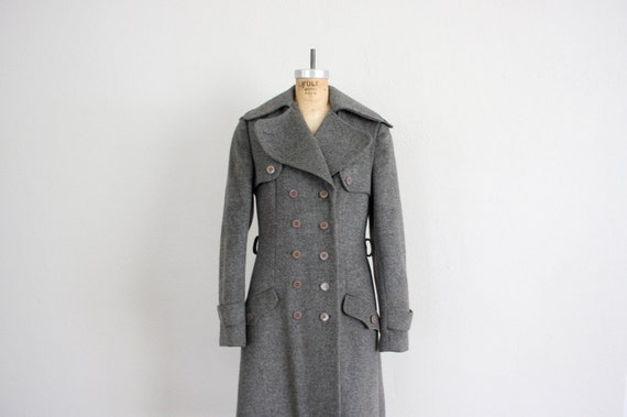Military Grey Coat // Vintage 1950s Mid Century Chic Jacket