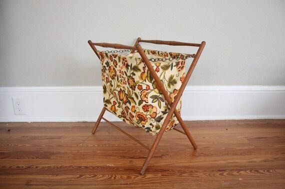 Vintage Sewing Basket // Mid Century Floral Hamper