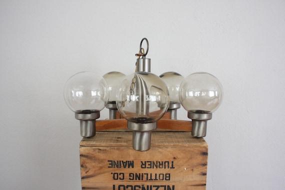 Vintage Mod Atomic Chandelier // 1960s Mid Century Modern Light Fixture // 5 Spoke Hanging Walnut and Metal Lamp