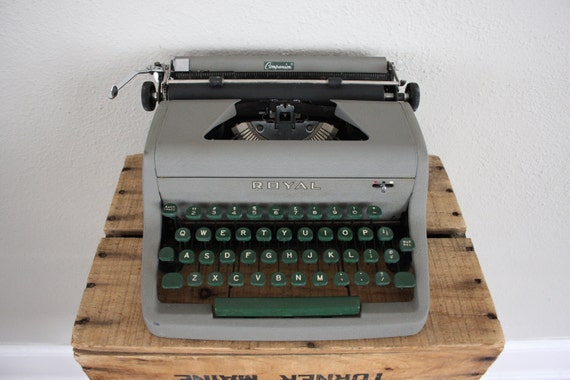 Vintage Typewriter // Mid Century Typewriter by Royal in Grey and Green