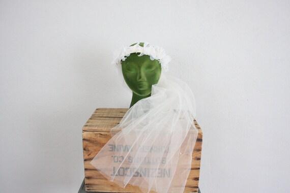 Vintage Wedding Veil // 1970s Wedding Veil // White Tulle Veil // Bridal Circlet Cap // Lace and Floral Blusher