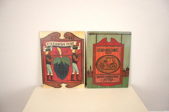 Vintage Coach Signs // Handpainted Wooden Pub Signs
