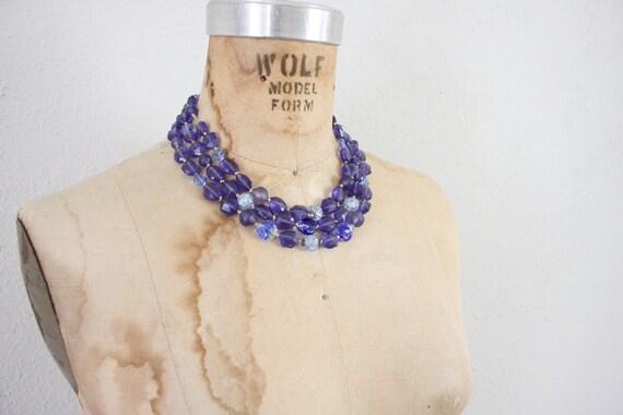 Vintage Beaded Necklace // Mid Centruy Blue Choker // Three Strand Necklace