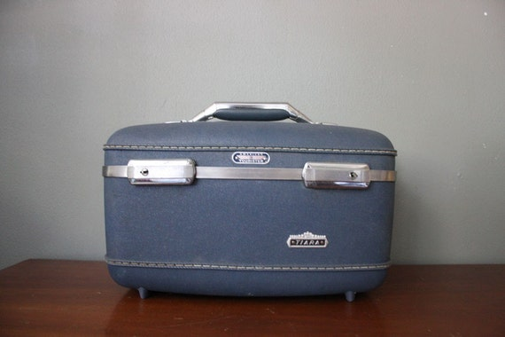 Vintage 1970s Train Case in Blue and Silver by Tiara