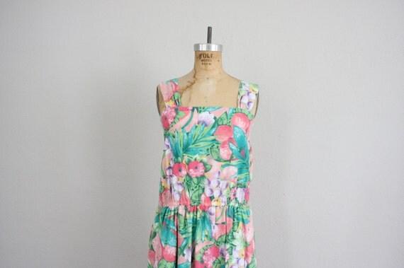 SALE 1980s Summer Sun Dress in Pink and Green . Garden Party Sundress