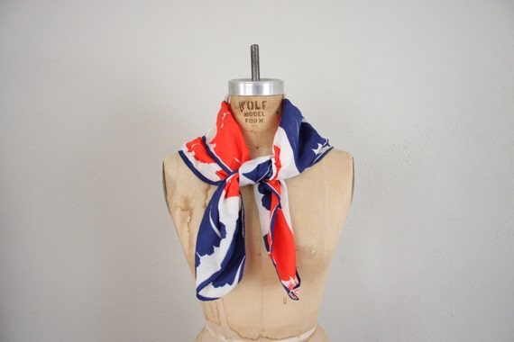 Vintage Mod Scarf // Nautical Blue White and Red Handkerchief by Vera
