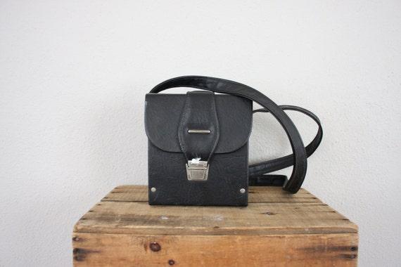Vintage Camera Bag // 1980s Vinyl Man Bag // Black Shoulder Bag // Vintage Box Purse
