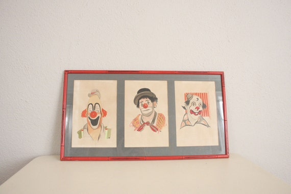 SALE Vintage Clown Painting // Mid Century Home Decor Original 1950s Watercolor