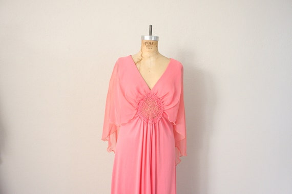 1970s Vintage Party Dress in Candy Pink // Sheer Chiffon Cape Gown