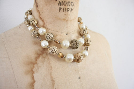 Vintage Pearl Necklace // Mid Century Double Strand Choker // 1950s Necklace Brass Beads