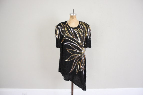 Vintage Sequined Cocktail Dress // 1980s Glam Gown in Black Gold Sequins