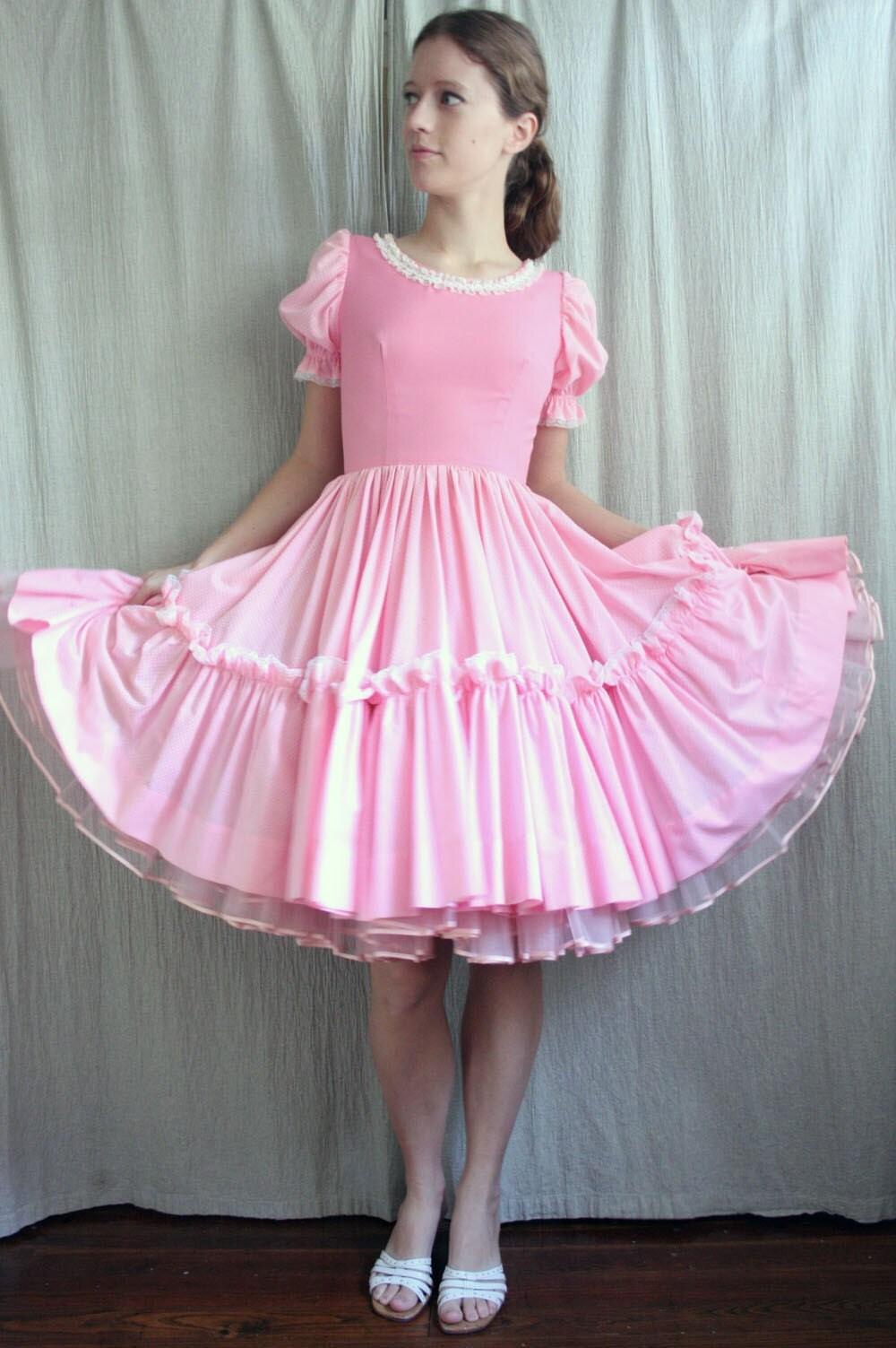 Vintage Blush Pink Pouf Square Dancing Dress By Advintagous