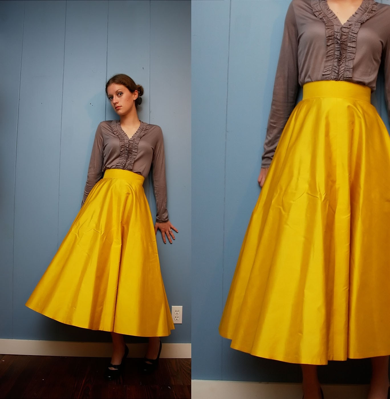Vintage Floor Length Formal Yellow Snow White Skirt by