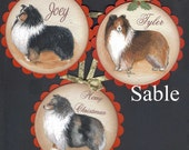 Hand Painted Sheltie Christmas Ornaments