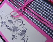 Black, pink and white Notecard. Autumn Leave design-BLANK INSIDE