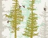 Evergreen Trees Letterpress Print