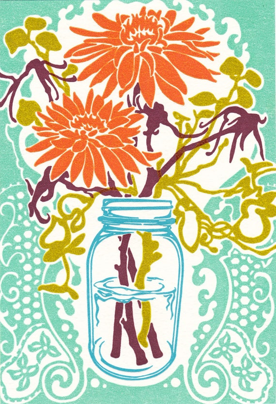 Mason Jar Flowers - Letterpress Print