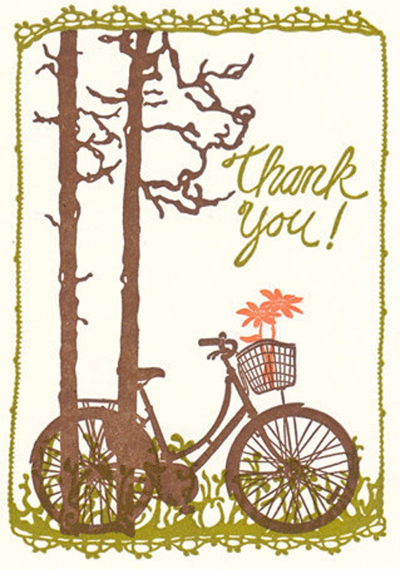 Bicycle with Flowers - Letterpress Thank You Cards - box set of ten