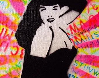 graffiti rainbow rocker PIN UP girl street art paiting