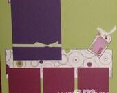 Fun Purple-Green 12x12 2-page Scrapbook Layout