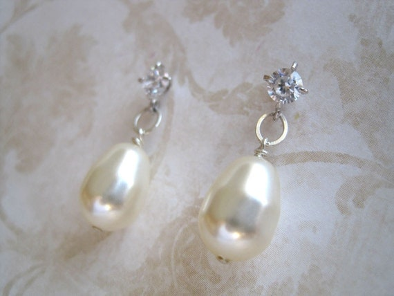 Jacqueline Marie Bridal Earrings -Swarovski Pearl Drops and Crystal Studs
