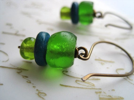 Fresh Drops -Recycled Glass, Coconut Shell on Hypoallergenic Niobium Earrings