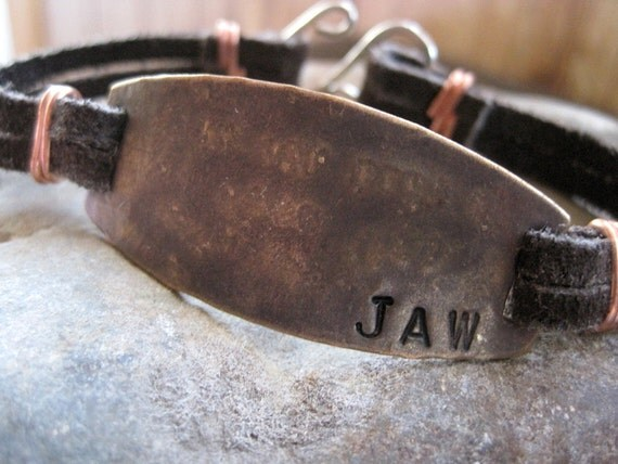 Mens Personalized Bracelet-CUSTOM stamped message- Rustic and Rugged - Leather - Copper - Silver
