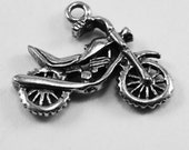 2 x Small Motorbike pendant or charms 1 bail Australian Pewter