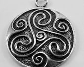 2 x Celtic Circle Dome Sixes pendant 1 bail Australian Pewter R120