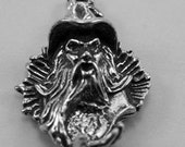 Small Merlin Wizard  pendant 1 bail   1 crystal cavity Australian Pewter