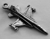 4 x Aeroplanes Fighter Jet Australian Pewter Charm or necklace